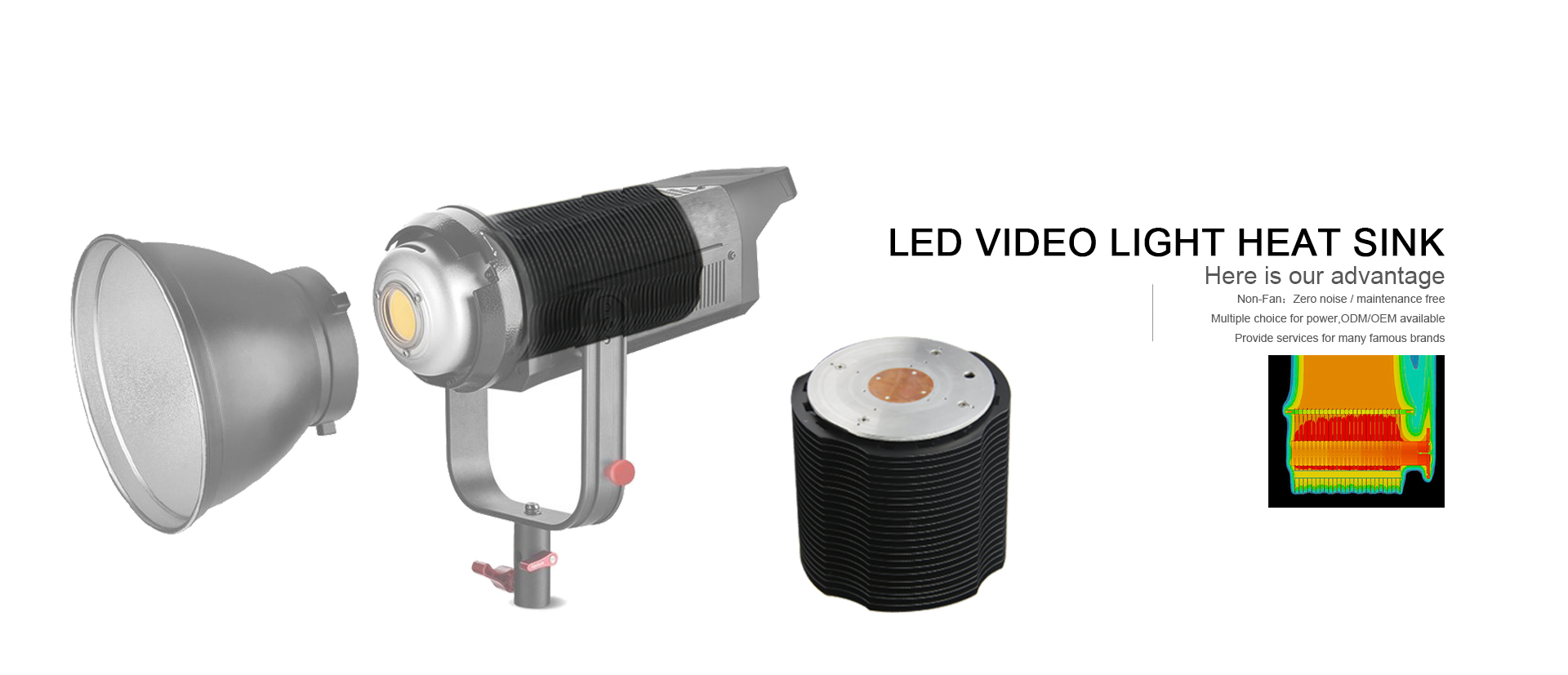 LED video light heat sink